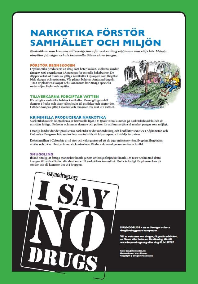 Bild på en drogaffisch till mellanstadiet från I Say No Drugs